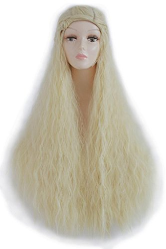 L-email 90cm/35.43inch Long Daenerys Curly Wave Cosplay Wig Blonde ZY132