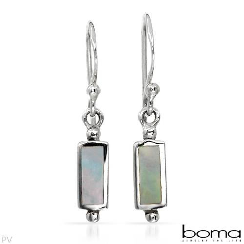 BOMA Stylish Earrings With Genuine Mother of pearls Well Made in 925 Sterling silver Length 24mm