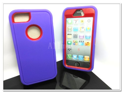 Multi Color Iphone 5 5S Body Armor Silicone Hybrid Cove Hard Case, Three Layer Silicone PC Case Cover for iPhone 5 5S (Purple+Red)