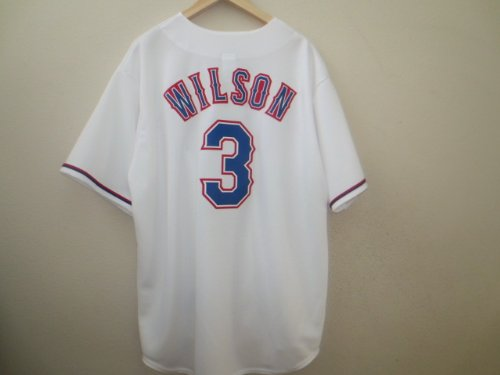 Russell Wilson #3 Texas Rangers Majestic Home White Men's Jersey (XL) (Russell Wilson Rangers Jersey compare prices)