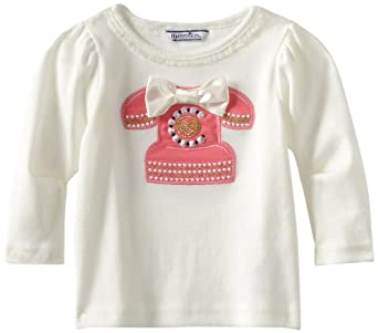 Hartstrings Baby-Girls Infant Cotton Telephone Long Sleeve Tee Shirt, Marshmallow, 12 Months