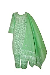 eco haat Hand Crafted vibrant Cotton Embroidered semi stitched Salwar Suit Dress Material [GRNPWDM02]