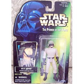 Star Wars The Power of the Force Action Figure - AT-ST Driver (Green Card wit...