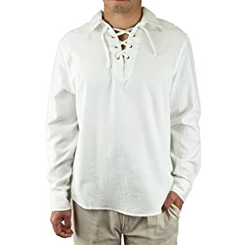 Cotton drawstring collar long sleeve beach shirt