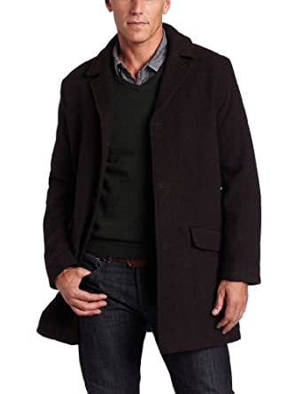 Tommy Hilfiger Men's Wool Fancy Top Coat, Brown Twill, Large