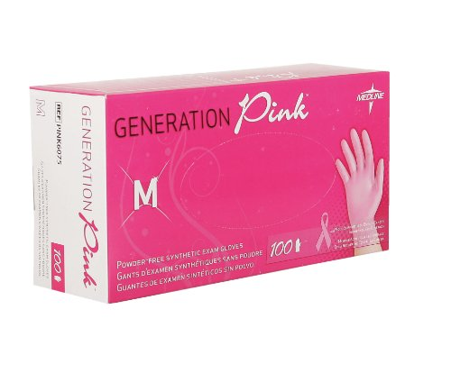 Pink Exam Gloves, Stretch Vinyl, Powder Free, Latex Free, Small