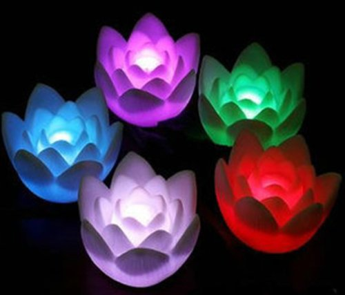 Domire Fancy Colorful Changing Led Lotus Flower Romantic Wedding Decoration Party Lamp Candle Lights Make A Wish Lights 10Pcs
