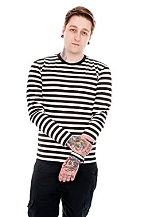Mens indie retro 60 39 s black white striped long sleeve t Mens long sleeve white t shirt