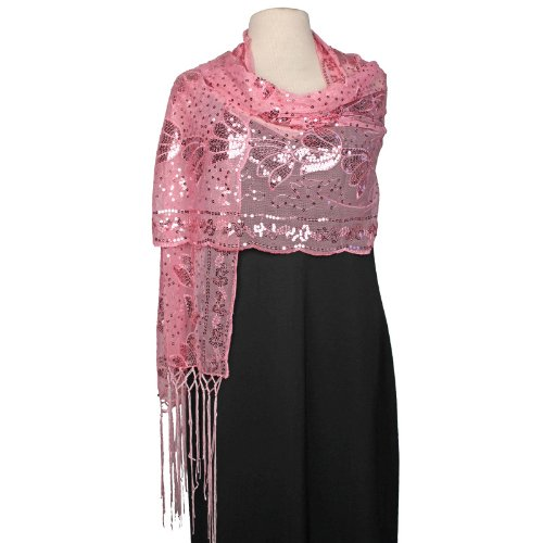 Kirks Folly DreamKeeper Enchanted Garden Sequin Shawl (Pixie Pink)