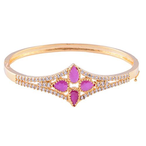 Ganapathy Gems 1 Gram Gold Plated Bracelet With White CZ And Pink CZ - B00TLK85XE