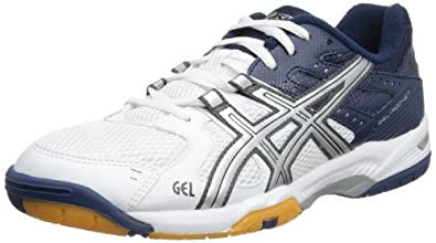 Asics Mens Gel-Rocket M White/Lightning/Dark Blue Indoor Multisport Court Shoes B207N 0191 9 UK, 44 EU