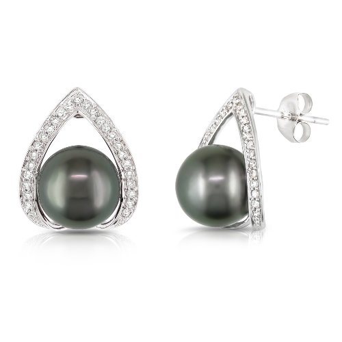 14k White Gold Black Tahitian Pearl with Diamond Accent Earrings (1/4 cttw, H-I Color, I2-I3 Clarity)