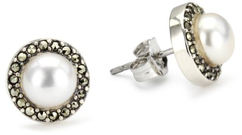 Judith Jack Sterling Silver, Freshwater Pearl, and Marcasite Button Earrings (Judith Jack Marcasite Jewelry compare prices)