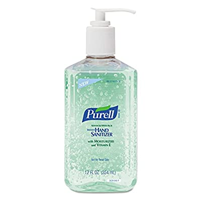 PURELL 3639-12 Advanced Instant Hand Sanitizer with Aloe, 12 oz Bottle (Pack of 12)
