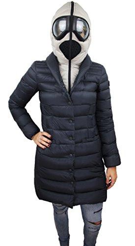Piumino donna AI Riders On The Storm nero giubbotto lungo Parka invernale chiusura completa con cappuccio e lenti (40)