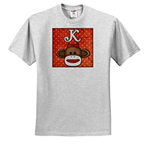 Dooni Designs Monogram Initial Designs - Cute Sock Monkey Girl Initial Letter K - T-Shirts - Youth Birch-Gray-T-Shirt Small(6-8)