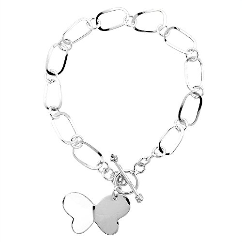 Sterling Silver Butterfly Oval Link Toggle Charm Bracelet, 7.5 Inches Long