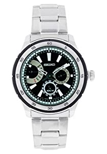 Seiko Men's SNT019 Silver Stainless-Steel Analog Quartz Watch with Black Dial