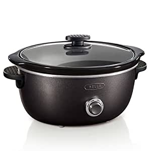 BELLA 13885 Dots Collection Slow Cooker, 6-Quart, Black