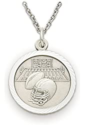 """Solid .925 Sterling Silver Football 3/4"""" Medal with cross crucifix on Back Sports Patron Saint St. Medal Pendant Comes with a 20'' chain Pendant Necklace in a deluxe velvet box"""