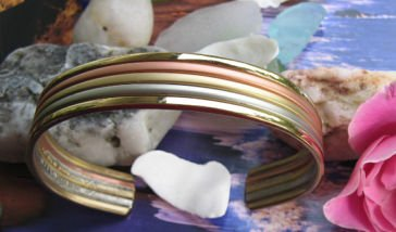 Ladies 7 Inch Solid Copper Tri Metal Cuff Bracelet #440M