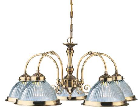 American Diner Antique Brass And Clear Ribbed Glass 5 Light Pendant 5X60 Watt Lambs Bc