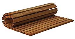 SurfStow 50020 Roll Up Teak Shower Mat, Oiled Finish