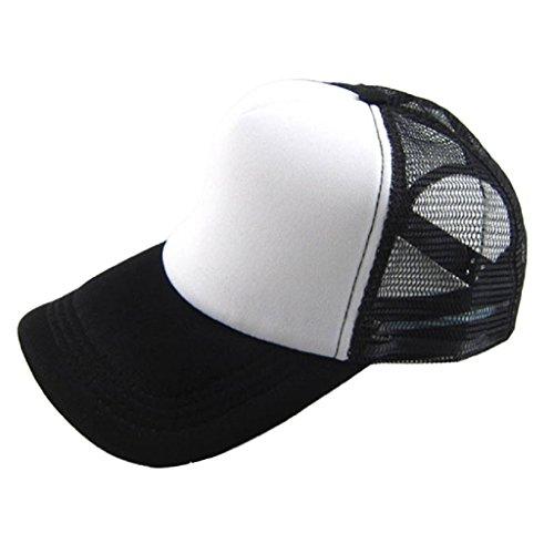 Berretto baseball Familizo Unisex cappello casuale Baseball Cap Trucker Solid Mesh Cappello Tongue vuoto visiera regolabile anatra (L)