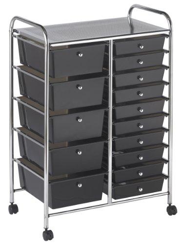 Ecr4Kids 15-Drawer Mobile Organizer, Smoke front-885752