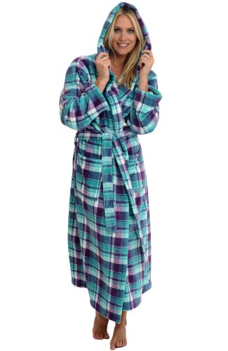Women's Fleece Full Length Hooded Bathrobe, Purple and Teal