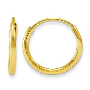 Kreolen Ohrringe Kinder 14K Endlos Rund - 10mm X 10mm - JewelryWeb