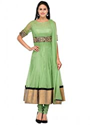 Zbuy Green Net Embroidered Unstitched Salwar Suit Dress Material