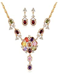 Via Mazzini 18K Gold Plated Top Quality AAA Swiss Cubic Zirconia Necklace Earrings Set For Women (NK0483)