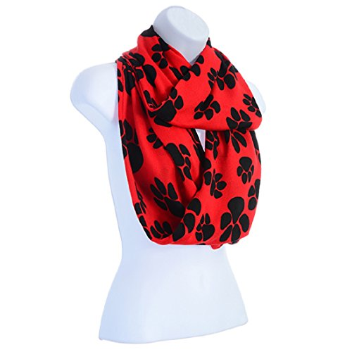 Red Infinity Scarf With Black Paw Prints