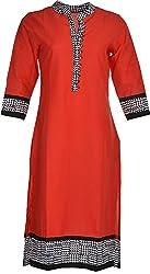 Artisan Women's Cotton Straight Kurta (CZF10024_XL, Red, XL)