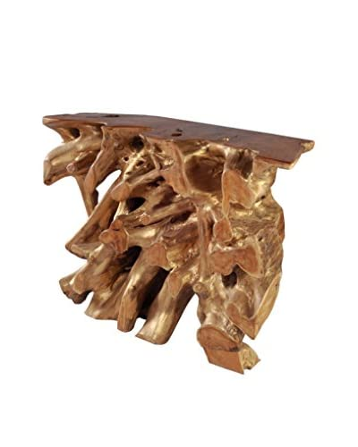 Zuo Modern Dino Console Table, Natural/Antique Gold