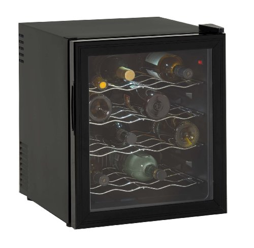 Avanti EWC1601B 16 Bottle Wine Cooler, Black, Reversible Glass Door