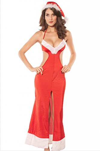 Dear-Lover Women's Sexy Christmas Costume Mrs Claus Christmas Gown