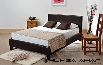 4ft Small Double Brown Faux Leather Prado / Haven Bed