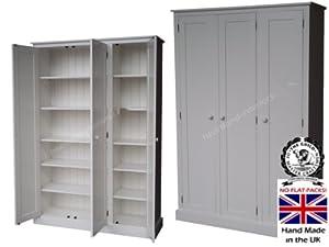 100% Solid Wood Cupboard, Large 3 Door Triple White