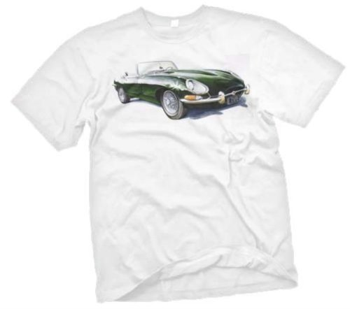 Jaguar E-Type Sketch Car T Shirt XL White