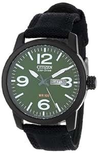 Citizen Men's BM8475-00X Eco-Drive Military Black Plated Steel Canvas Strap Watch