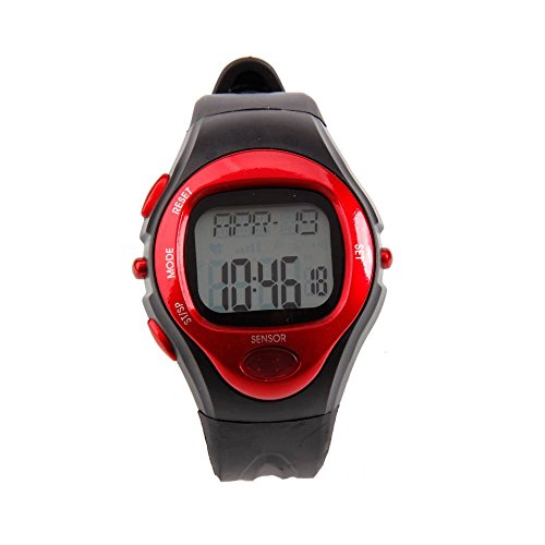Pulse Heart Rate Counter Calories Monitor Sport Watch Fitness Watch Black + Red