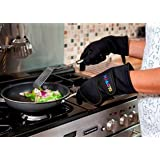 Oven Gloves with fingers withstands heat up to 250�C or 500�F Plain Black Size XLby Gloven