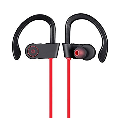 Bluetooth Earbuds with Microphone, Comfortable Headphones with Noise Cancellation Technology, Sweat Proof Rated, Up To 7 Hr Music Play Compatible with iPhone, iPad,Samsung,Other Devices(Black/Red)