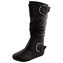 Womens Top Moda Bank-85 Knee-High Round Toe Slouch Boot,Bank-85v2.0 Black 8.5