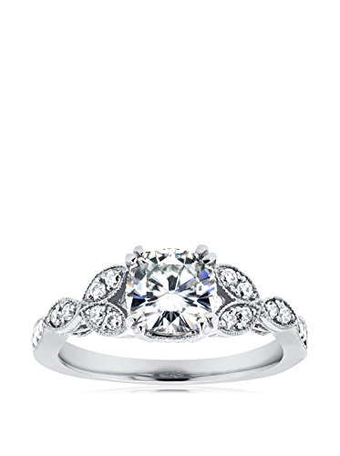 Kobelli 14K White Gold Cushion-Cut Moissanite & Diamond Antique Engagement Ring