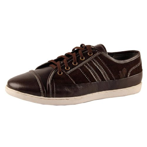 Salt N Pepper Men's Brown Leather Sneakers - 6 UK (multicolor)