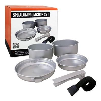 Milestone Camping-Kochset, Aluminium, 5-teilig, Silber