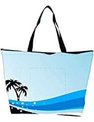 Snoogg Summer Background With Palm Tree And Blue Wave Waterproof Bag Made Of High Strength Nylon